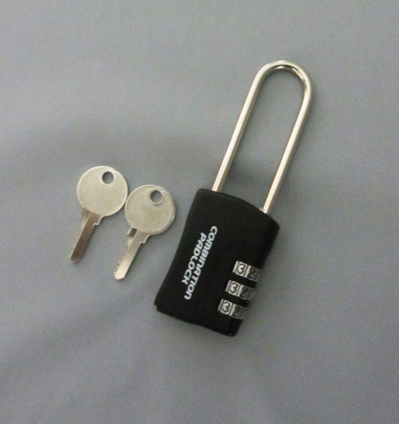暗証番号リセット機能付 コンビネーションパドロックRK 3DIALS ツル長